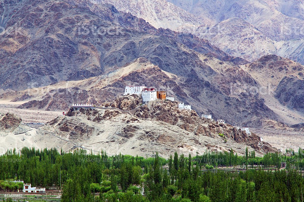 Buddhists Monastery in Leh, Jammu and Kashmir, India stock photo