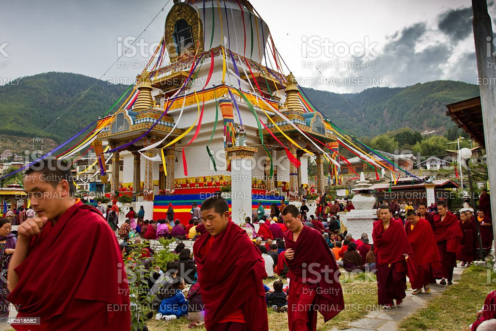 Buddhists of the Memorial Stupa of Thimphu, Bhutan stock photo