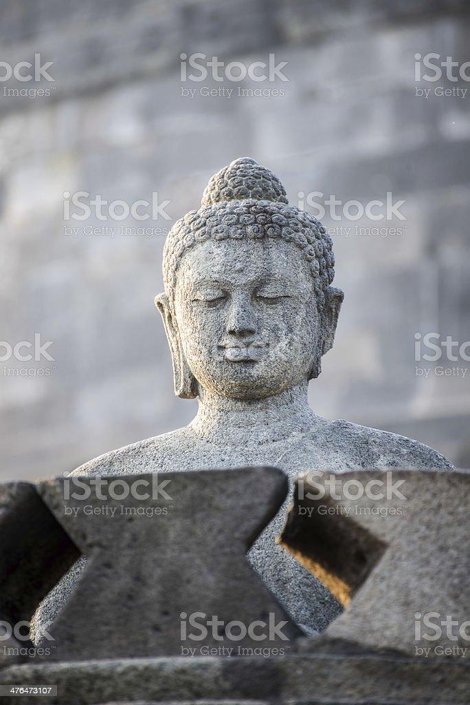 Buddist temple Borobudur on sunset stock photo