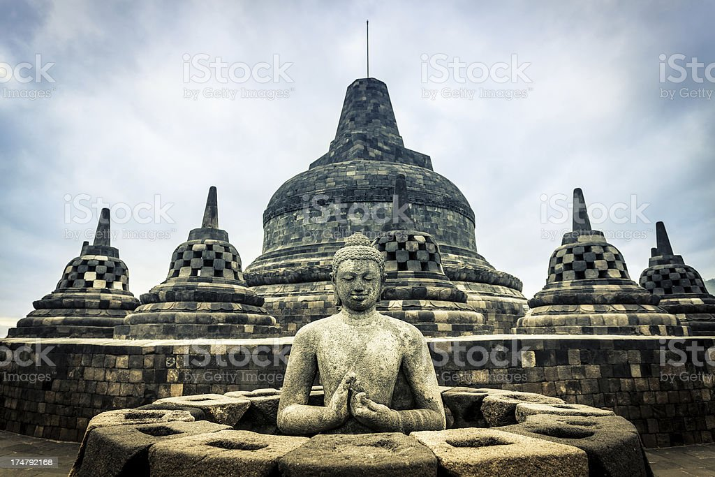 Buddist Temple of Borobudur in Java, Indonesia stock photo