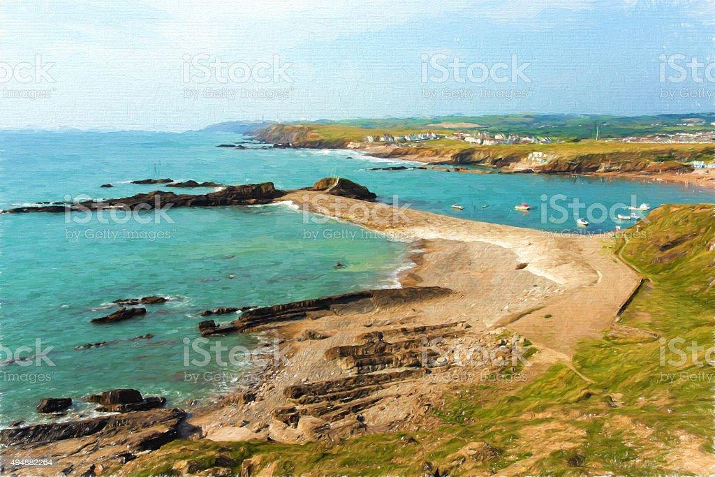 Bude beach and coast North Cornwall Englandblue sea and sky stock photo