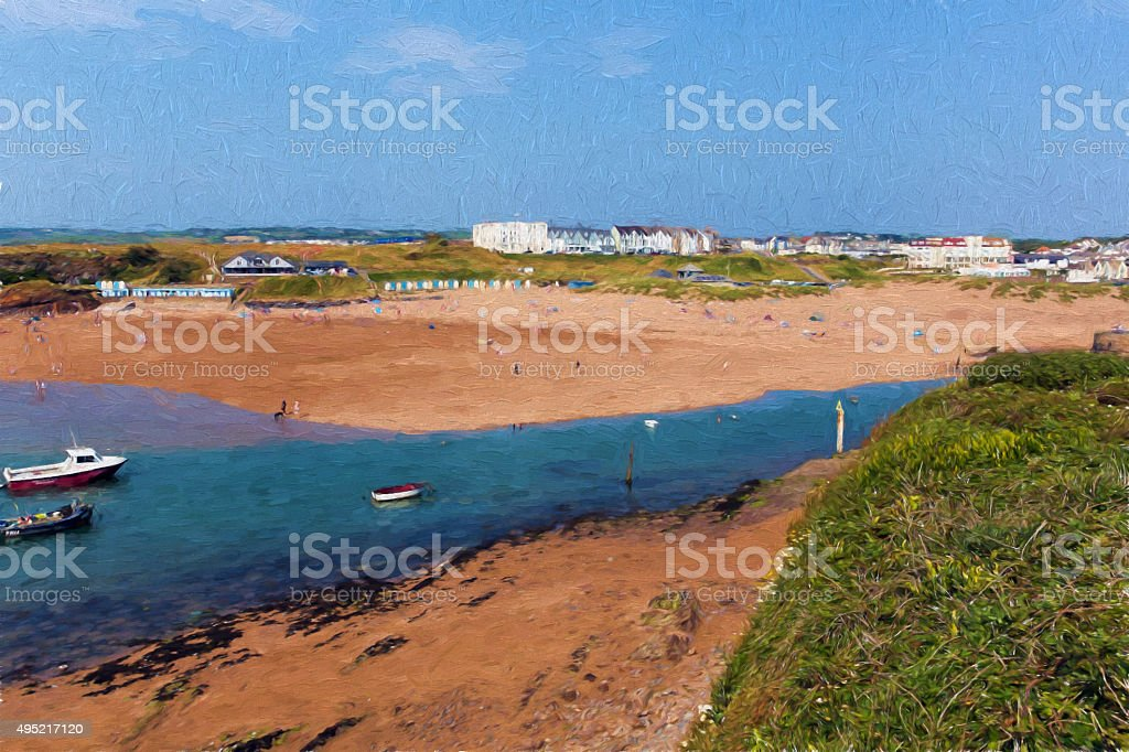 Bude beach and town North Cornwall blue sea illustration stock photo