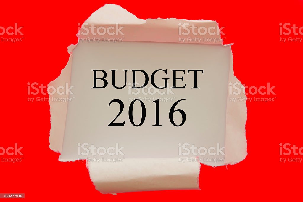 Budget 2016 red torn paper concept stock photo