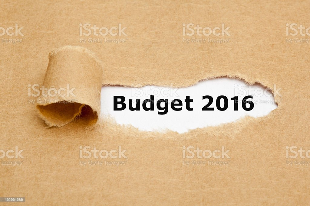 Budget 2016 Torn Paper Concept stock photo