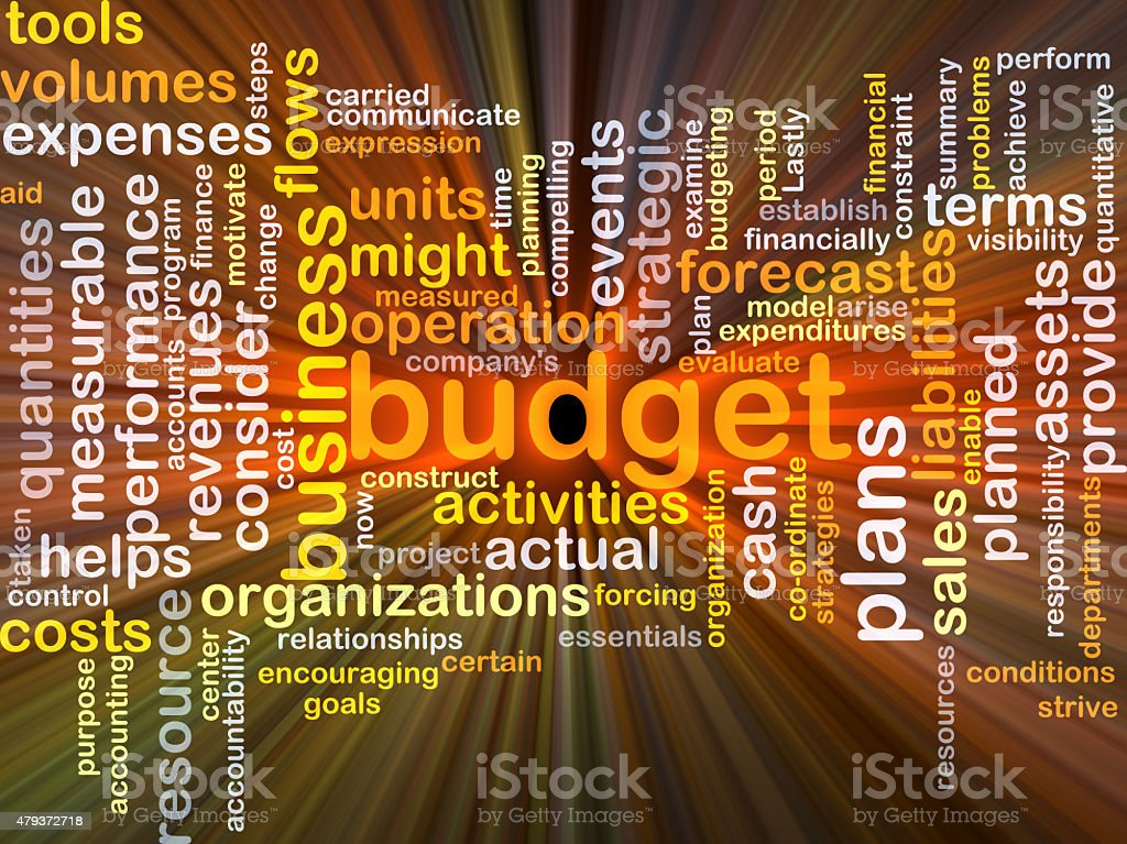Budget background concept glowing stock photo
