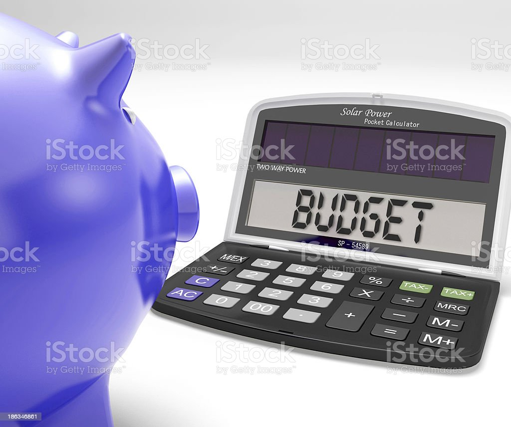 Budget Calculator Shows Spending And Costs Management royalty-free stock photo