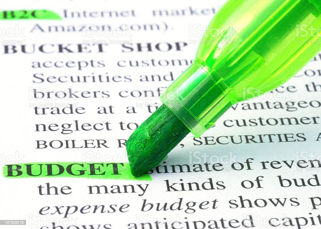 Budget highligted in dictionary royalty-free stock photo