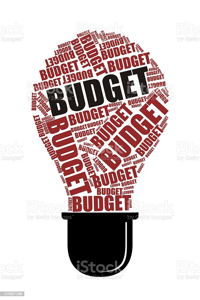 Budget Word on Collage word with bulb Shape stock photo