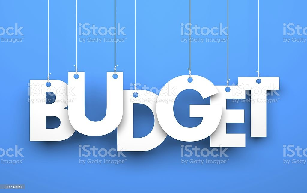 Budget. Word on strings stock photo