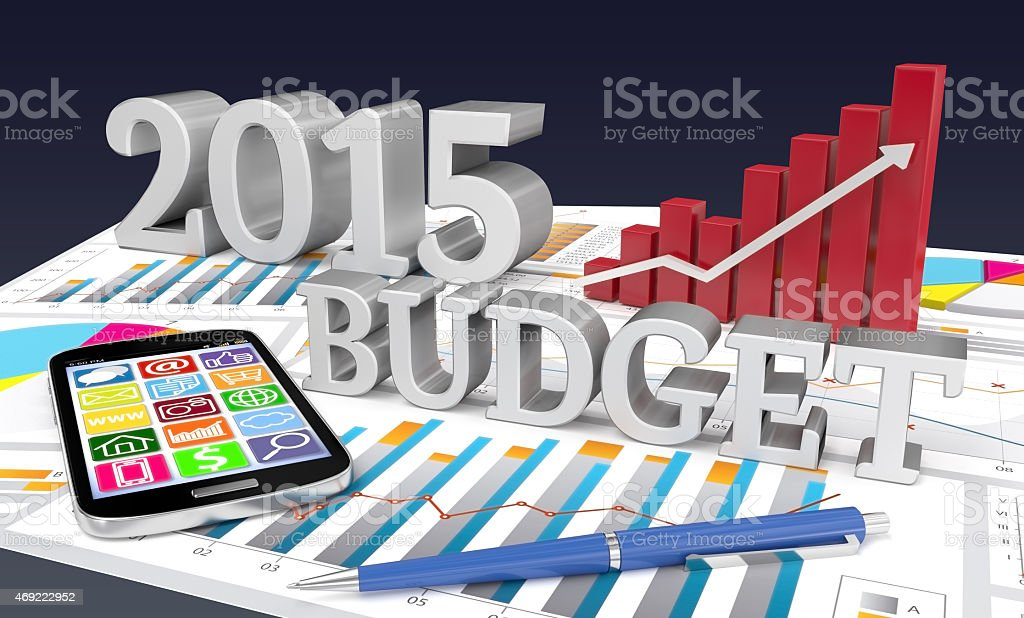 2015 budget word with graph an pencil smartphone stock photo