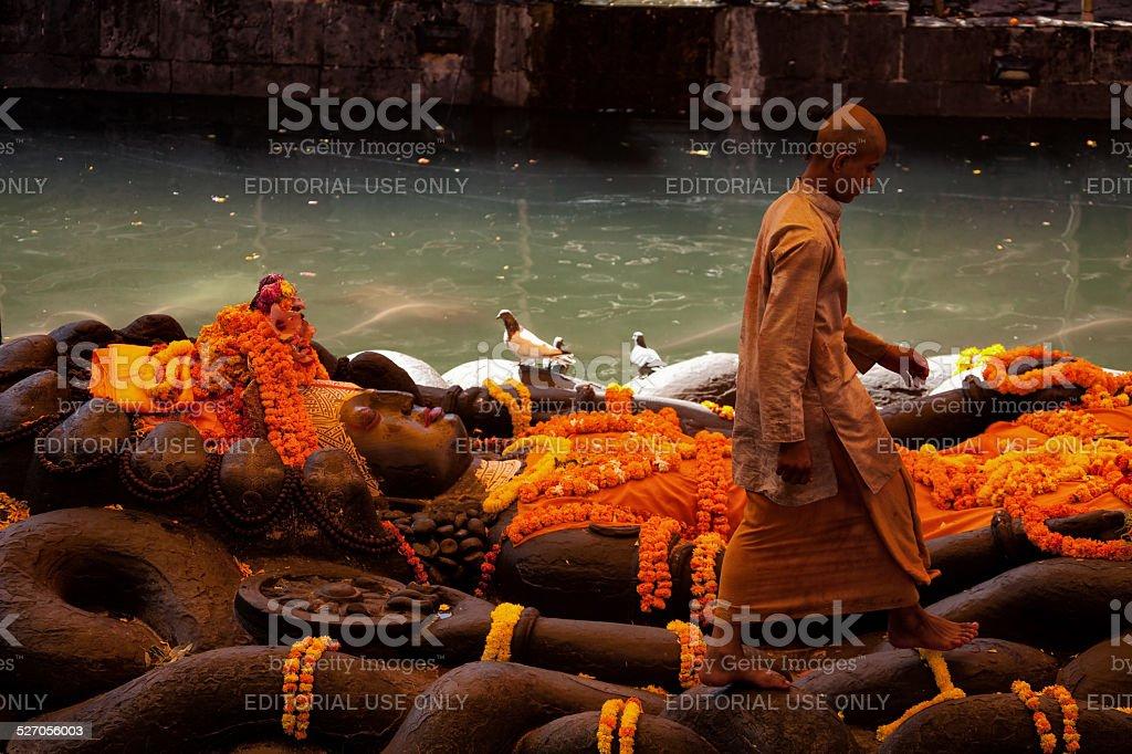 Budhanilkantha temple, Kathmandu, Nepal stock photo