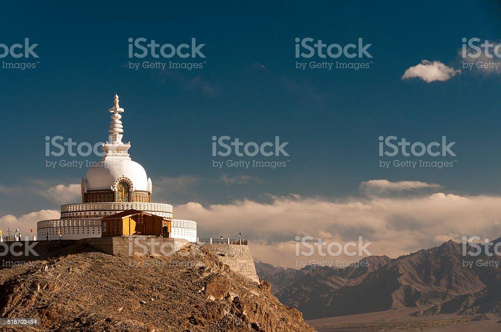 Budhist Shanti Stupa in Leh, Ladakh, India stock photo