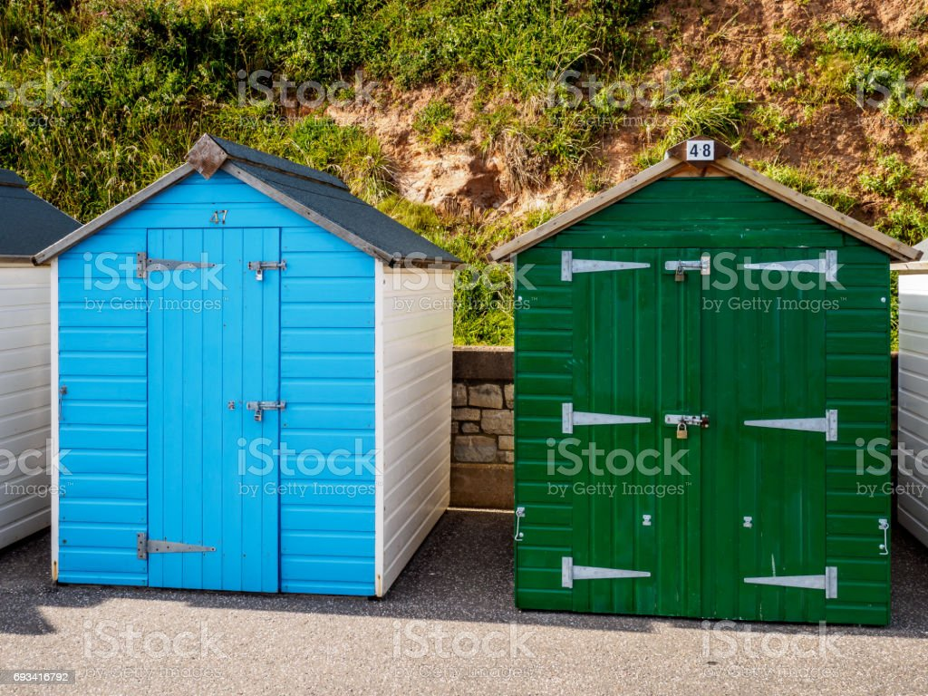 Budleigh Beach Huts stock photo