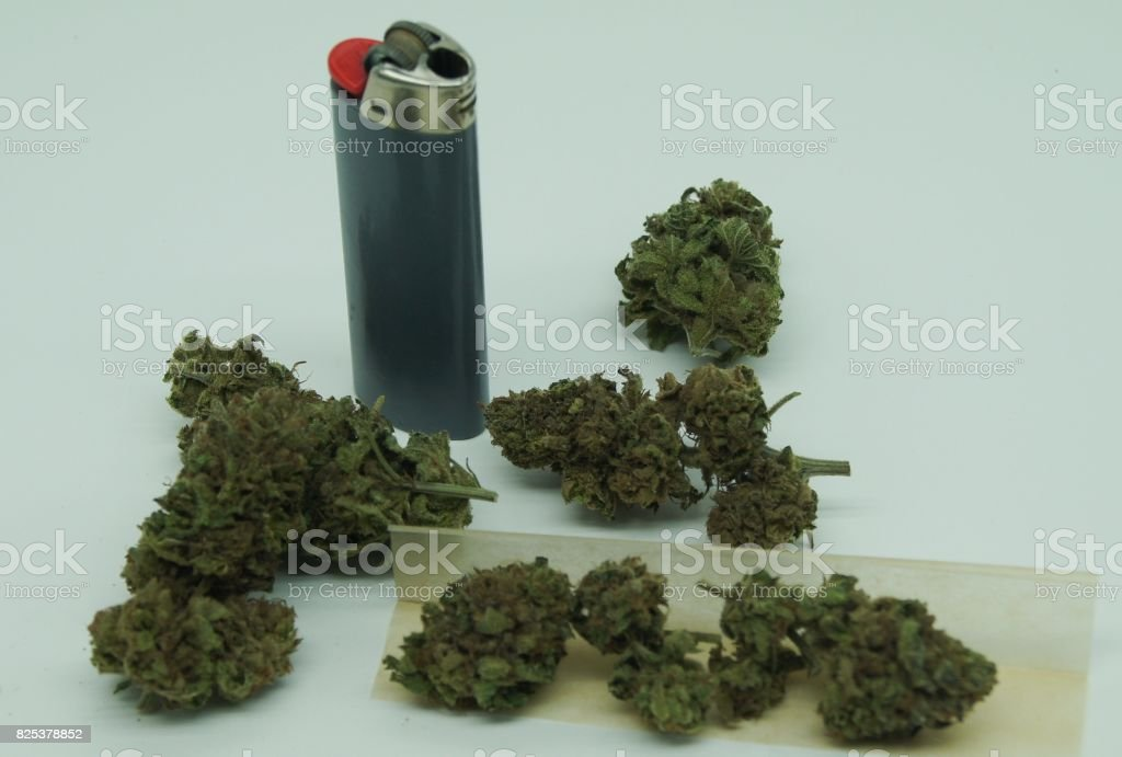 Buds of Cannabis Displayed with Gray Lighter and Rolling Paper stock photo