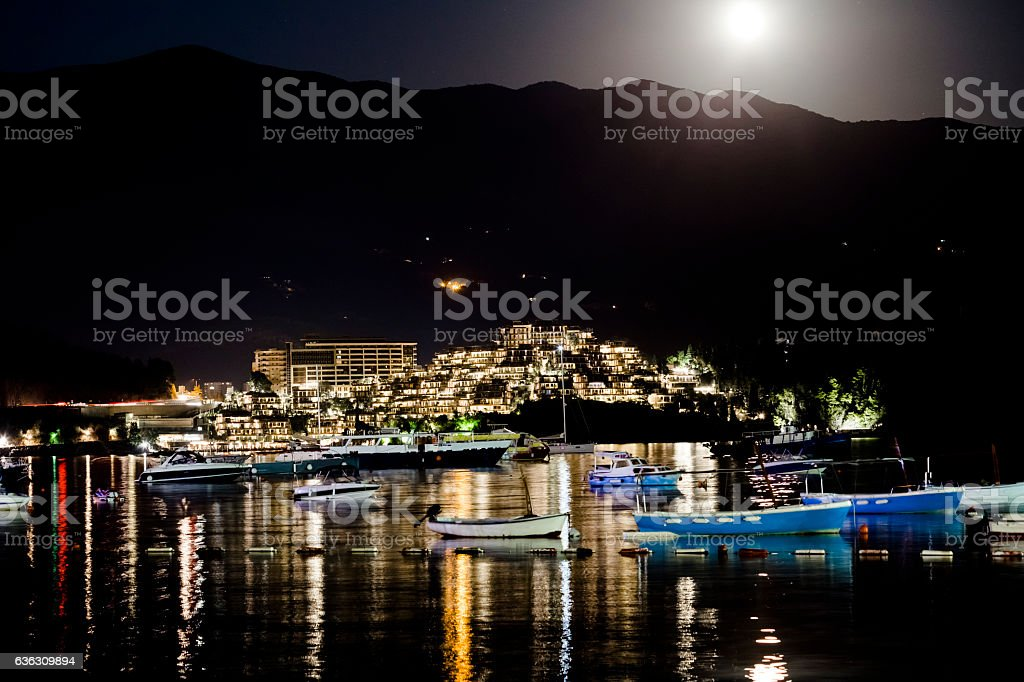 Budva at night stock photo