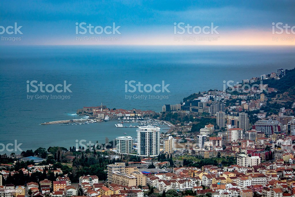 Budva city view in rainy day stock photo