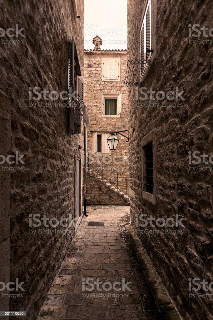 Budva, Montenegro - alley stock photo
