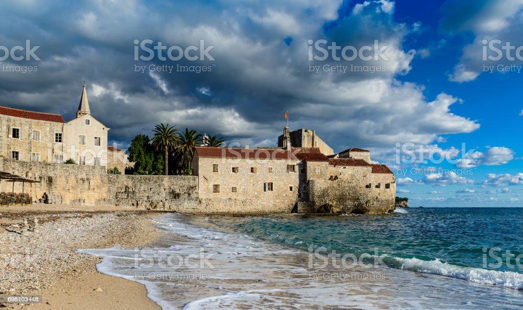 Budva Old town landscape, Montenegro stock photo
