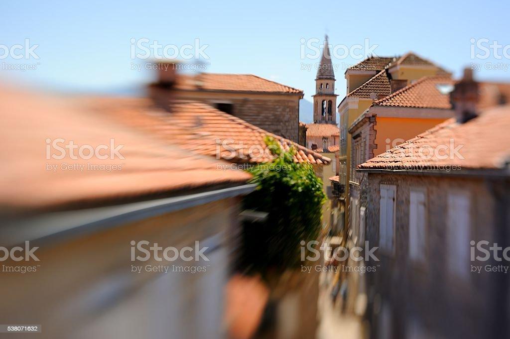 Budva old town landscape stock photo