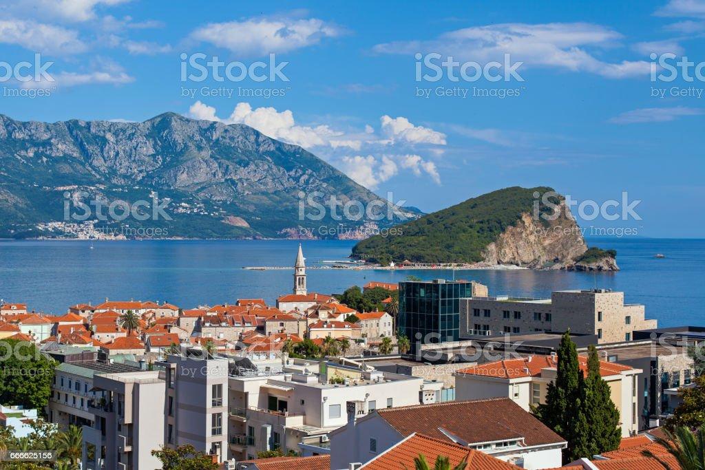 Budva, Sveti Nikola Island and Stari Grad stock photo