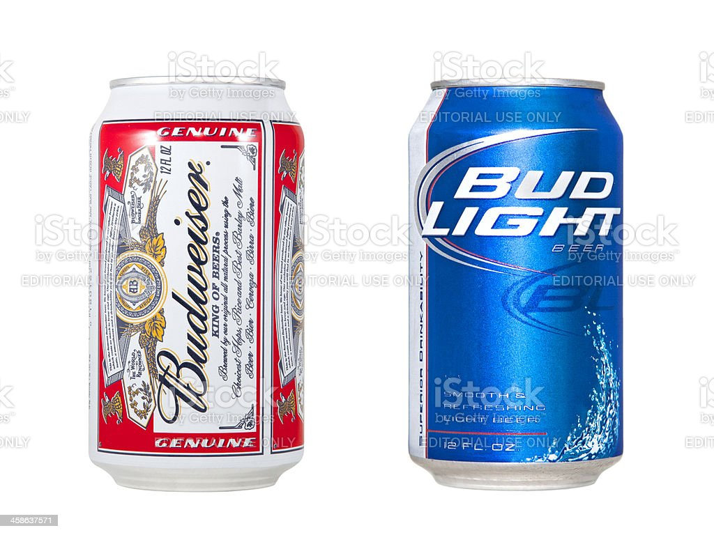 Budweiser and Bud Light royalty-free stock photo
