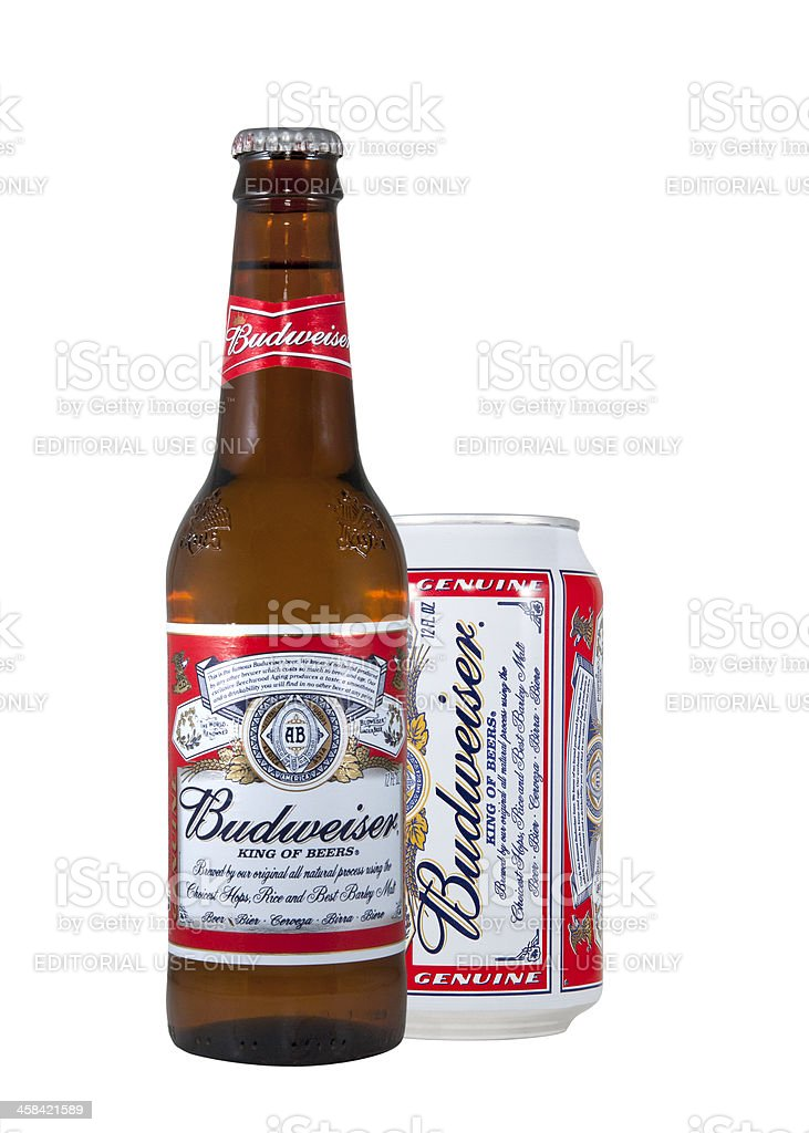 Budweiser Beer Bottle and Can royalty-free stock photo
