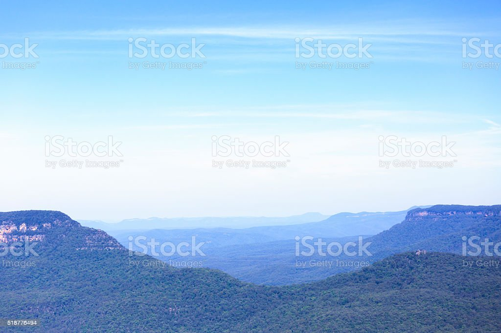 Bue Mountains, view from Echo point lookout over Jamison valley stock photo