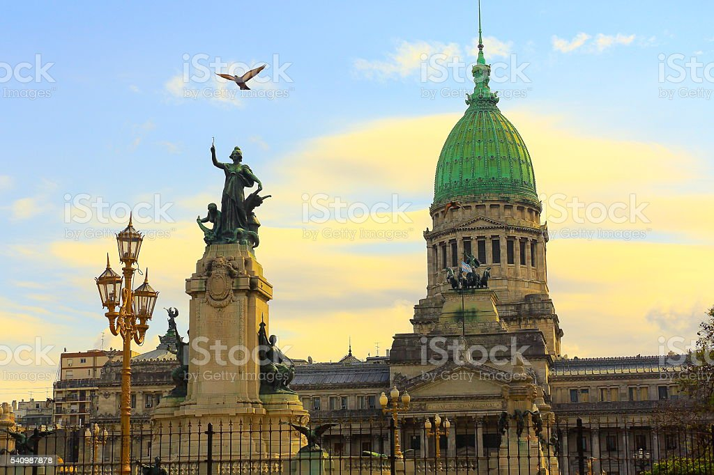 Buenos Aires Congress Parliament square , dove flying over, Argentina stock photo