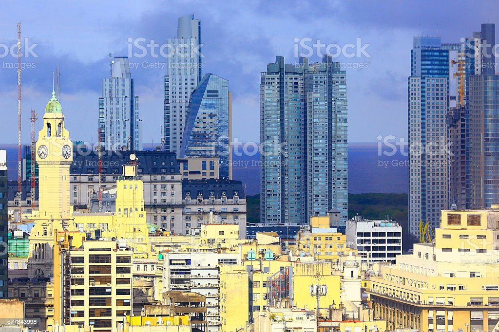 Buenos Aires contrasts: old buildings and Puerto Madero stock photo
