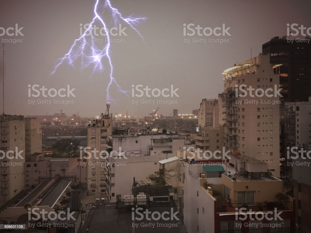 Buenos Aires rooftop with lightning stock photo