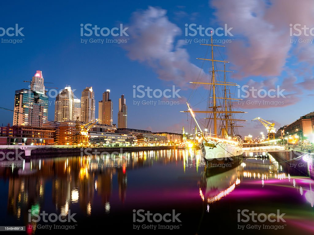 Buenos Aires Skyline by Puerto Madero Night stock photo