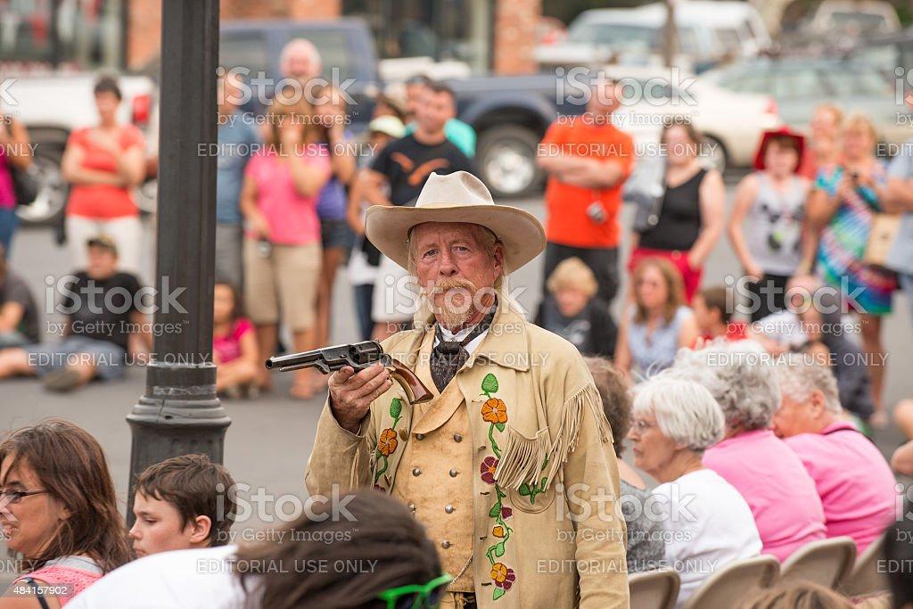 Buffalo Bill gunfight at Irma Hotel stock photo
