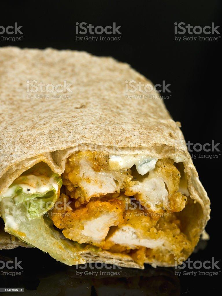 Buffalo Chicken Wrap sandwich stock photo