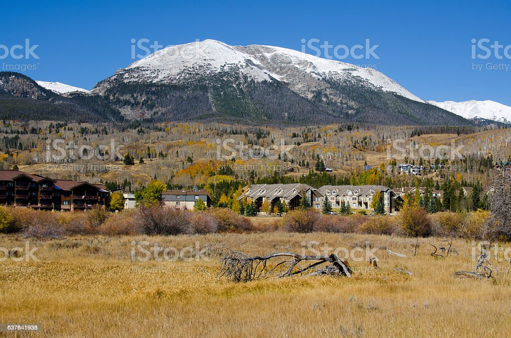 Buffalo Mountain and the Last of Autumn in Frisco, Colorad stock photo