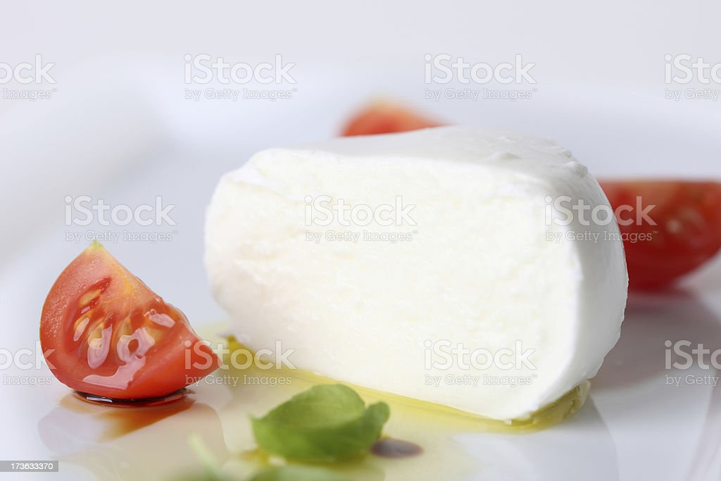 Buffalo Mozzarella and Cut Tomatoes royalty-free stock photo