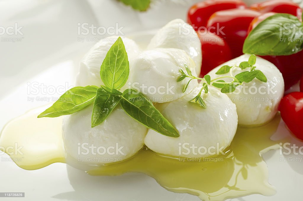 buffalo mozzarella basil and tomatoes stock photo