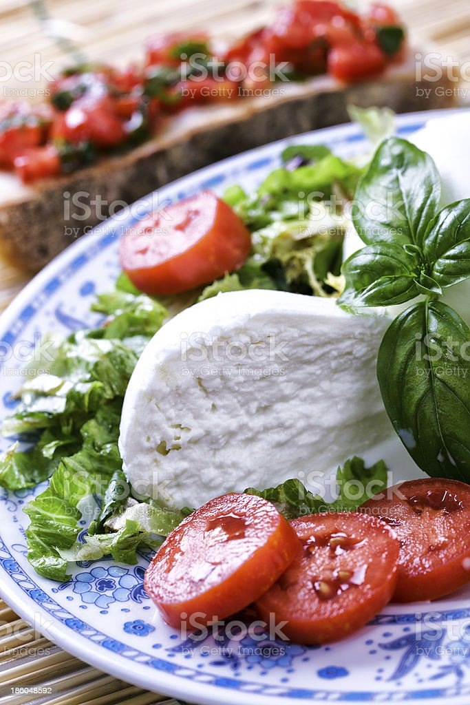 Buffalo Mozzarella with salad royalty-free stock photo