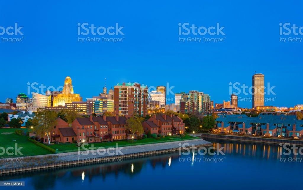 Buffalo Skyline at Dusk with Sunset Reflections stock photo