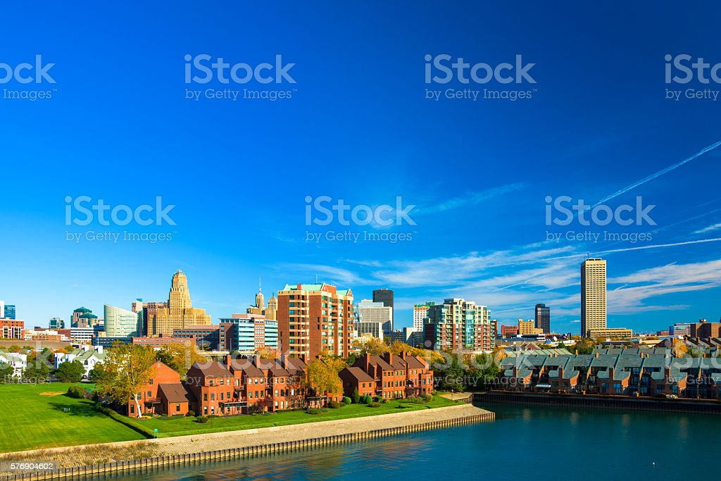 Buffalo skyline with waterway and white space stock photo