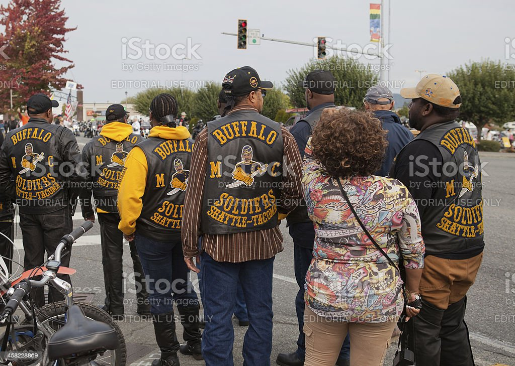 Buffalo Soldiers Motorcycle Club at Oyster Run 9-23-12 stock photo