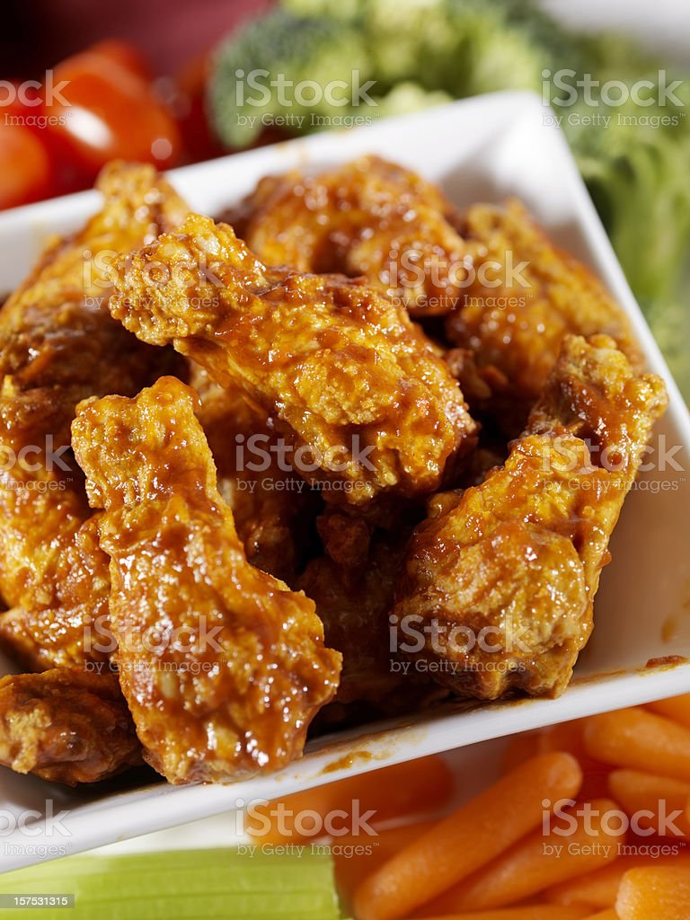Buffalo Wings with Fresh Vegetables royalty-free stock photo
