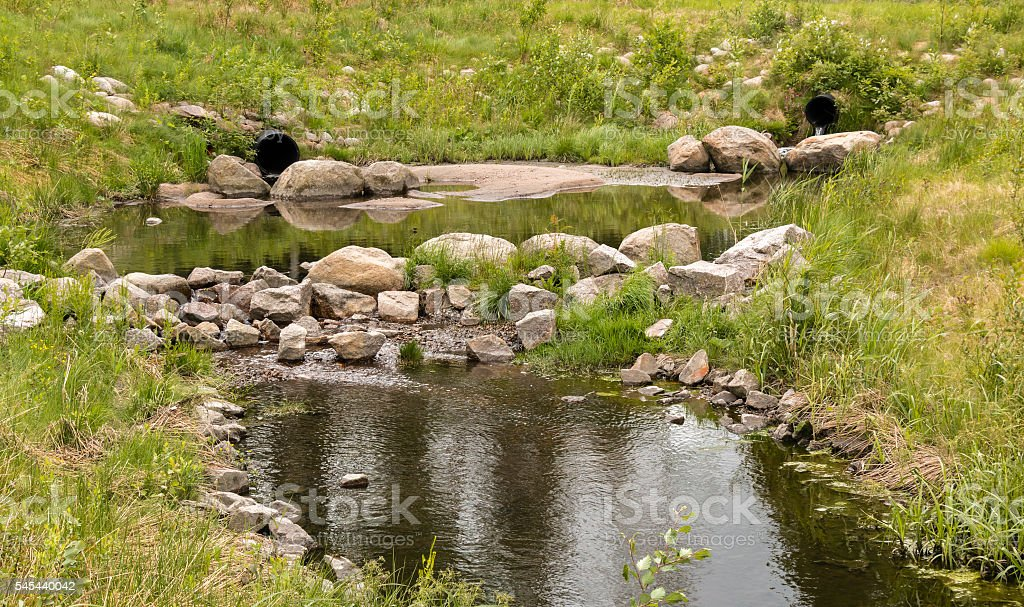 Buffer pond at a water treatment wetland in Finland stock photo