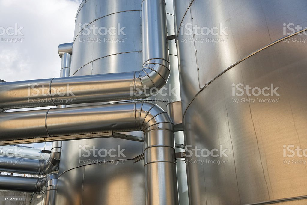 Buffer Vessel of a biomass plant, Energiewende, Germany stock photo