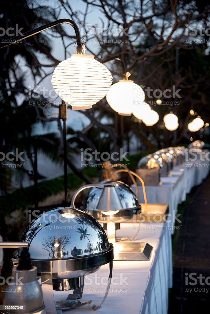 Buffet food for outdoor happening stock photo