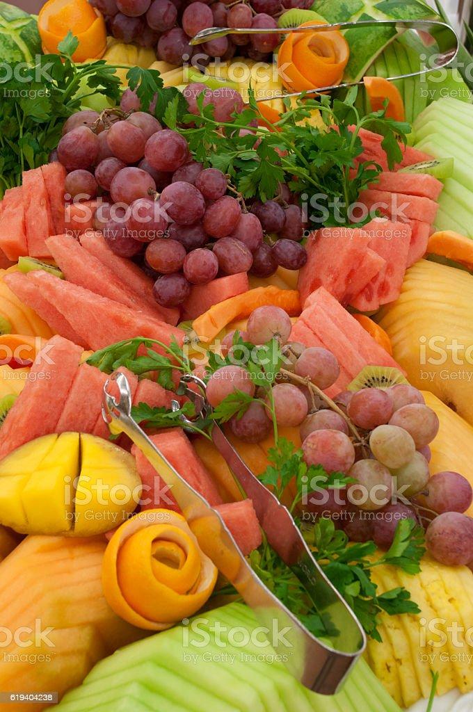 Buffet fruit medley stock photo
