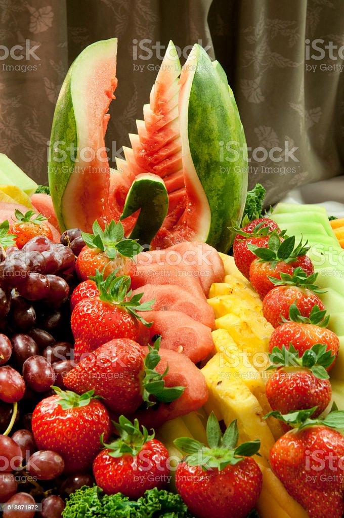 Buffet fruit selection display stock photo