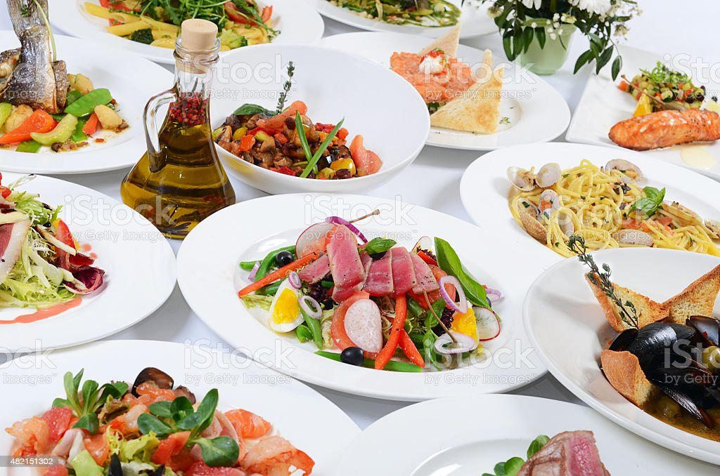 Buffet in the restaurant with different meals stock photo