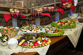 Buffet of cold dishes and dessert