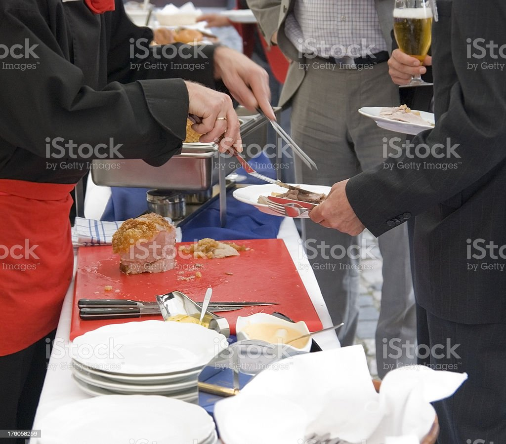 buffet queue getting food royalty-free stock photo