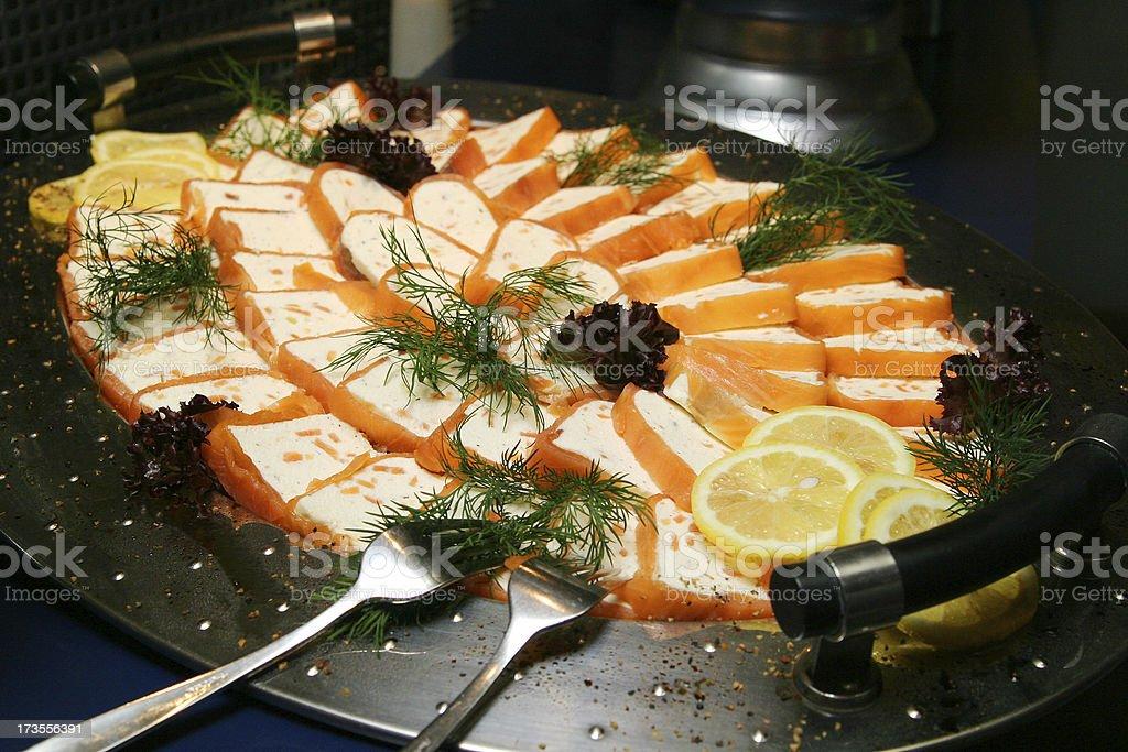 Buffet Salmon stock photo